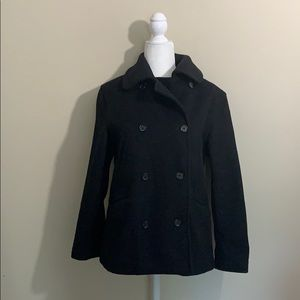 J. Crew Black Wool Double Breasted Pea Coat Small